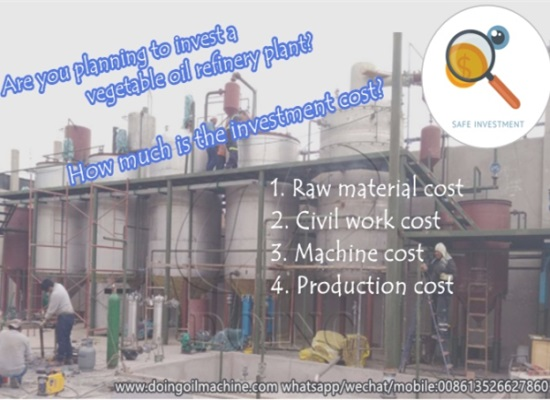 How much is the vegetable oil refinery plant investment cost?