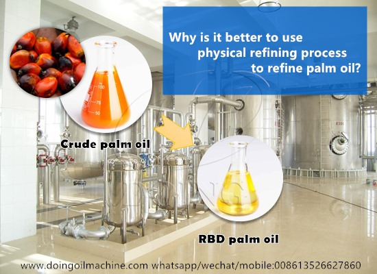 Why is it better to use physical refining process to refine palm oil?